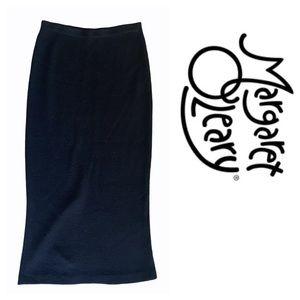 Margaret O'Leary Wool Blend Knit Midi Black Skirt